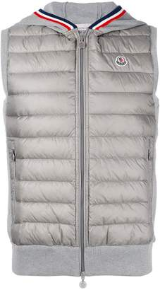 Moncler tri-colour trim hooded gilet