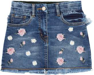 MonnaLisa Floral Embroidered Denim Skirt