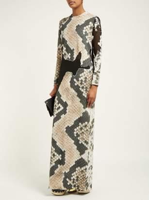Marques Almeida Marques'almeida - Devore Snake Print Sheer Panel Maxi Dress - Womens - Grey Multi