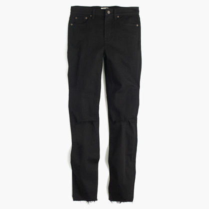 "J.Crew Petite 9"" distressed lookout high-rise jean in true black"