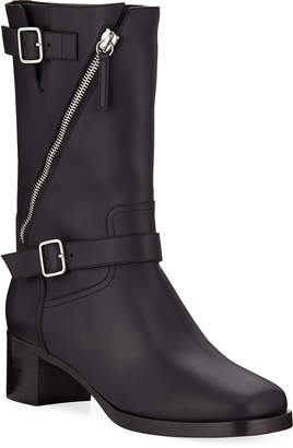 Giuseppe Zanotti Diagonal Zip Leather Buckle Boots