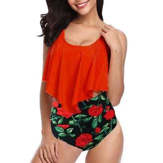 b7a2df0c1b BingYELH Swimsuit Floral Printed High Waisted Bikini Set Womens Tummy  Control 2PC Bathing Suit Ruffle Swimsuit