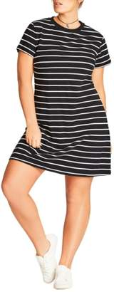 City Chic Stripe T-Shirt Dress
