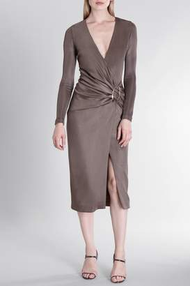 Cushnie Mink Sahara Long Sleeved Deep V Pencil Dress