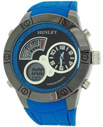 Gents Henley Henley Men's Chronograph and Alarm Digital LCD Blue Rubber Strap Watch HDG025.6