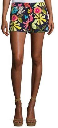 Trina Turk Corbin 2 Floral Stretch Shorts, Blue/Multicolor $198 thestylecure.com