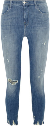 J Brand - Alana Cropped Distressed High-rise Skinny Jeans - Mid denim $230 thestylecure.com