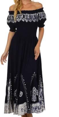 Sakkas B46 Elizabeth Batik Embroidered Peasant Dress