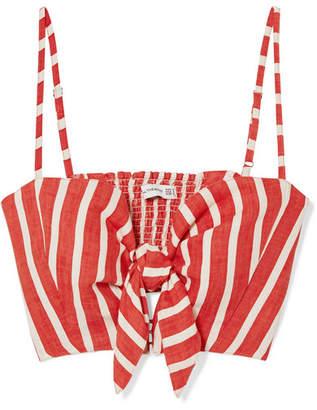 Faithfull The Brand De Fiori Cropped Striped Linen Top - Brick