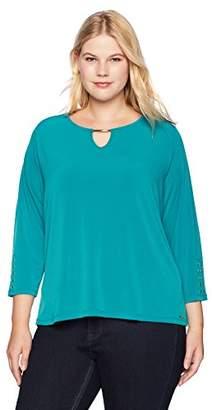 Calvin Klein Women's Plus Size Long Sleeve Keyhole Top