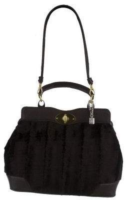Vt Luxe Park Avenue Faux Fur Satchel w/ Patent Trim By VT Luxe
