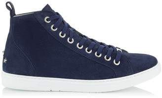 Jimmy Choo COLT Navy Fine Suede High Top Trainers