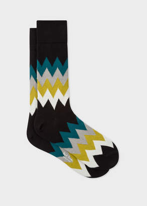 Paul Smith Men's Black Zig-Zag Stripe Socks