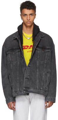 Vetements Black Levis Edition Oversized Hooded Denim Jacket