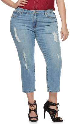 JLO by Jennifer Lopez Plus Size Distressed MidRise Denim Capris