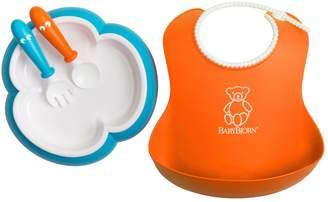 BABYBJÖRN 4-pc. Baby Bib, Plate, Spoon & Fork Feeding Set