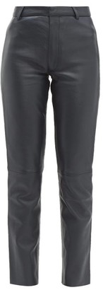 Officine Generale Celia Leather Trousers - Womens - Black Navy