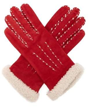 Agnelle - Marie Louise Suede Gloves - Womens - Red