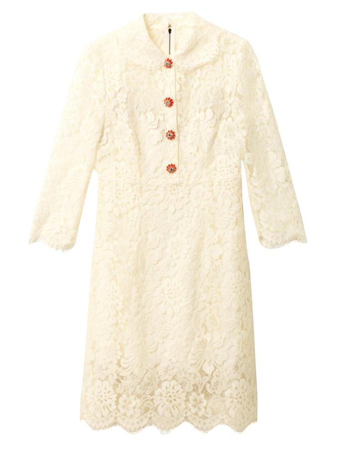 Dolce & Gabbana Embellished-button lace dress