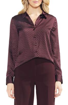 Vince Camuto Trinket Geometric Pattern Button Up Blouse