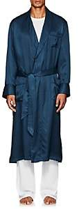 Derek Rose Men's Woburn Striped Silk Satin Robe - Navy