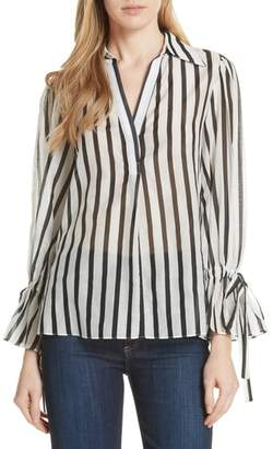 Alice + Olivia Geraldine Bow Sleeve Stripe Cotton Silk Tunic Top