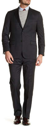 Hickey Freeman Black Woven Two Button Notch Lapel Wool Regular Fit Suit $1,495 thestylecure.com