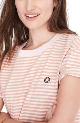 4f8cb9d1256a85 Madewell Smiley Stripe Easy Crop Tee