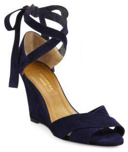 Aquazzura Tarzan Crisscross Suede Wedge Sandals $725 thestylecure.com