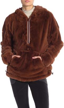 Free People Off the Record Faux Fur Half Zip Hoodie