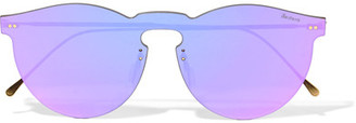 Illesteva - Leonard Mask Round-frame Gold-tone Mirrored Sunglasses - Purple $190 thestylecure.com