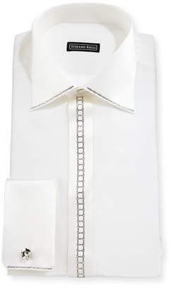Stefano Ricci Crystal-Placket Silk French-Cuff Tuxedo Shirt