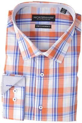 Nick Graham Yarn-Dye Plaid Stretch Shirt Men's Long Sleeve Button Up