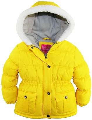 Pink Platinum Little Girls Sherpa Trim Hood Solid Puffer Winter Snow Jacket Coat