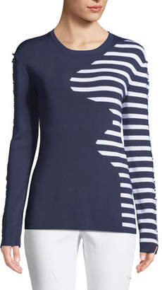 Tabula Rasa Dagani Striped Long-Sleeve Lace-Up Sweater