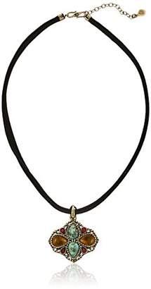 Barse Bronze and Genuine Stone Leather Pendant Necklace
