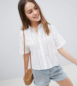 Asos Design Petite Boxy Shirt In Broderie