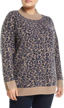 Neiman Marcus Mock-Neck Leopard Chenille Sweater, Plus Size