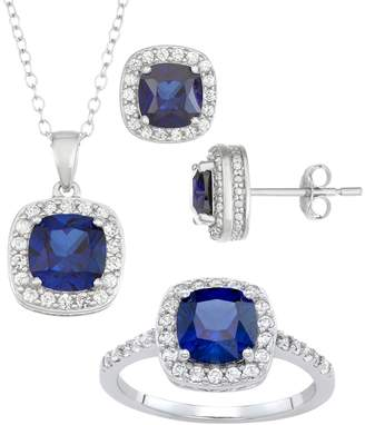 Sterling Silver Lab-Created Blue & White Sapphire Ring, Pendant & Earring Set