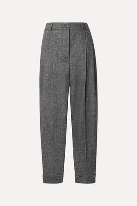 Burberry Mélange Wool-blend Tapered Pants - Gray