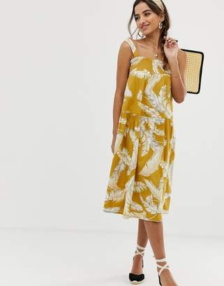 Asos Design DESIGN trapeze midi cotton sundress in palm print
