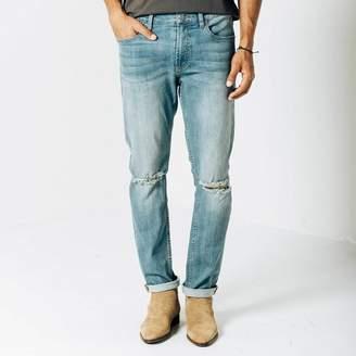 DSTLD Mens Skinny-Slim Destructed Jeans in Light Wash
