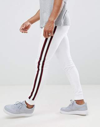 Asos Design Super Skinny Jogger In White With Side Stripes