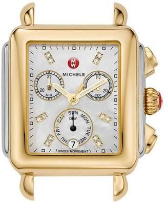 Michele 18mm Deco Diamond Dial Watch Head, Two-Tone