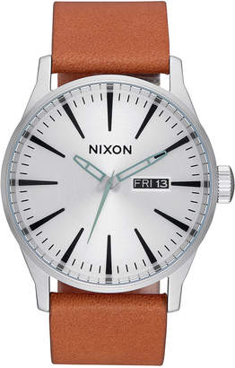 Nixon Men's Sentry Leather Strap Watch 42mm A105