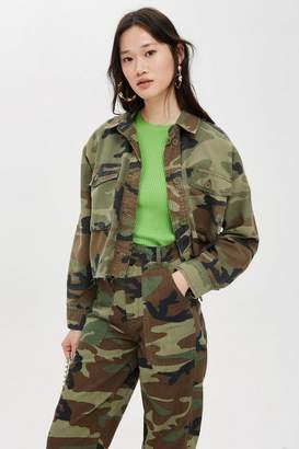 Topshop Womens Petite Camouflage Shacket