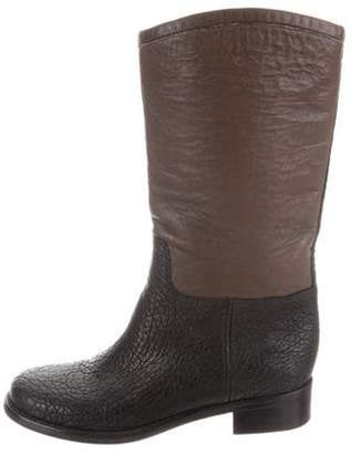 Chanel Round-Toe Mid-Calf Boots Black Round-Toe Mid-Calf Boots