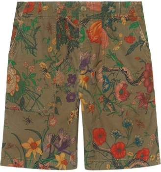 Gucci Flora Snake print cotton shorts