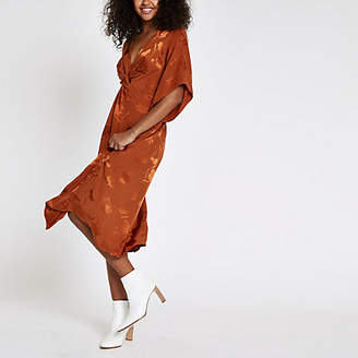 River Island Womens Orange knot front short sleeve midi dress