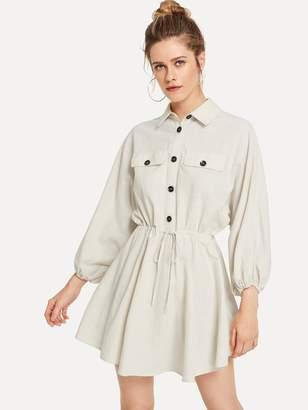 Shein Button Front Drawstring Waist Utility Dress